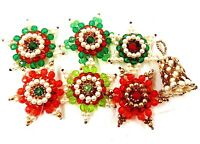 Set of Seven Vintage Hand Made Bead Ornaments Stars & Bell in Green, Red, Gold