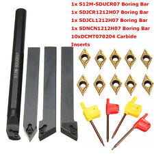 4 Set 12mm Shank Lathe Turning Tool Holder Boring Bar+ 10x Carbide Insert Blades