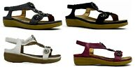 LADIES OPEN TOE GLADIATORS WEDGE SANDALS,WINE BLACK PEWTER WHITE UK 3-8 LSA-8033