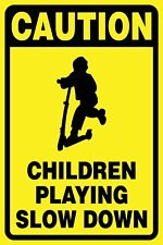 (2 X SIGNS) - CAUTION CHILDREN PLAYING SLOW DOWN - CORFLUTE SIGN - 300 X 200MM