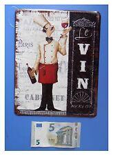 "Targa vintage ""Le vin Merlot"" calice di vino cameriere, metallo, cm 25x20"