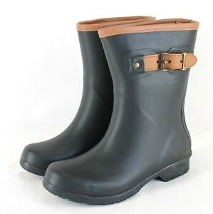 Chooka City Solid Mid Height Rain Boots Womens Sz 6 Black with Leather Trim NEW