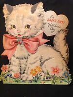 #1001🌟Vintage 1949 Hallmark Children's Greeting Card KITTEN 1st Valentine FLOCK