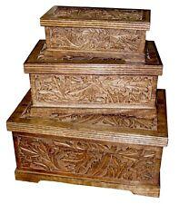 SET/3 TRINKET JEWELLERY STORAGE BOXES SOLID MANGO WOOD CARVED LEAF DESIGN