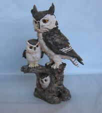 Mother and Baby Owls In and On A Tree Figurine/Statue *New*