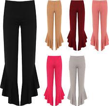 Plus Womens Flared Frill Asymmetric Hem Plain Trousers Ladies New Stretch Pants
