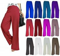 WOMENS PLUS SIZE PLAIN PALAZZO WIDE LEG LADIES FLARED TROUSERS PANTS 8 - 26