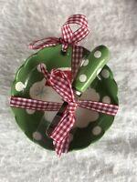 New Hallmark Christmas Bowl Spreader Green Polka Dots Santa Gingham Ribbon NWT