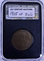 CB2694) Australia 1925 Penny, lovely coffee coloured vf coin, 6 pearls