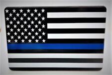 "AMERICAN FLAG, BLUE LINE, Billet Aluminum Trailer Hitch plug Cover, UV, 3"" X 5"""