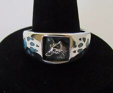 Native American Navajo Sterling Silver Turquoise Chip Inlay Wolf Ring Size 10