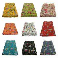 Floral Kantha Quilt Kantha Blanket and Throw Bohemian Quilted Kantha Bedspread C