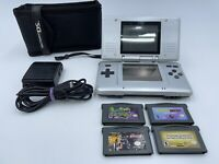 Nintendo DS Original Silver Handheld System Console Bundle Lot w/ Games Charger