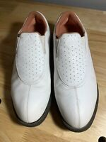 Adidas Womens Golf Cleats White Pink Perforated Slip On Shoes 679281 US 7 UK 5.5