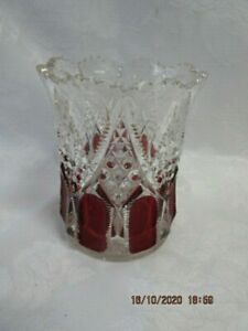 """Antique Glass Spooner w Cranberry Flashed Panels, 4.5"""" Tall,  VGC"""
