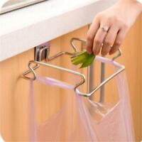 Kitchen Door Garbage Trash Bag Towel Stainless Steel Hanging Holder Rack W