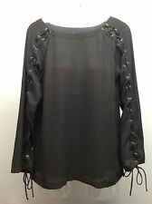 GREYLIN Anthropologie NEW Black L/S Lace Up Tie Sleeve Blouse Top Shirt M