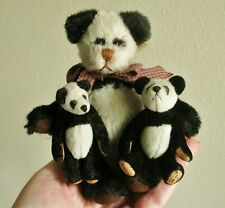 1997 Ganz Country Cottage Panda Bears Articulated Small Miniature