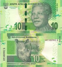 SOUTH AFRICA 10 Rand Banknote World Paper Money Currency Pick p133b 2015 Rhino