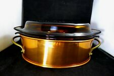 Vintage Anchor Hocking 433 Amber Glass and Copper Casserole Dish/Holder/Lid.