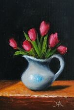 ACEO ATC Original Oil painting Red Tulip Flowers white Vase Still Life Art Card
