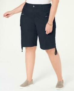 MSRP $53 Style & Co Plus Size Cargo Bermuda Shorts Navy Size 20W