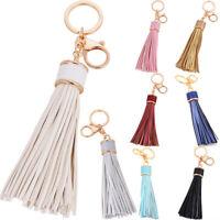 Women Leather Tassel Keychain Purse Bag Buckle HandBag Pendant Keyring Jewelry(: