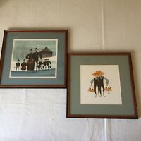 P Buckley Moss 2 Framed Prints 1988 Signed Limited Ed 1000 Family Brothers Cats