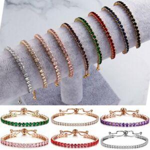 Rose Gold Adjustable Bridesmaid Tennis Bracelet Rhinestone Cubic Zircon Crystal