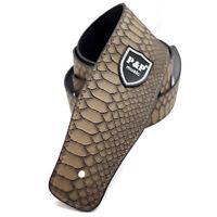 "2.6"" inch Wide PU Leather Python Skin Pattern Adjustable Guitar Strap Brown"