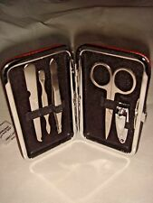 New Neat Dark Brown or Black Faux Leather Sturdy Case 5 Piece Manicure Set Gift