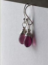 Purple Small Teardrop Sterling Silver Earrings. Gift For Her. Wedding Jewellery