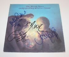 THE MOODY BLUES BAND SIGNED EVERY GOOD BOY DESERVES FAVOUR VINYL RECORD x4 w/COA