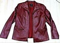 JLC New York Outerwear Maroon/Red Real Leather Blazer Jacket Womens Ladies sz L