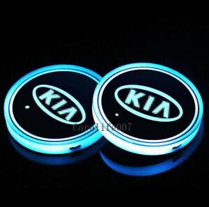 2PCS LED Car Cup Holder Lights Pad For KIA Interior Atmosphere Lamp Lights