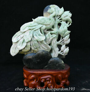 """10.4"""" Chinese Natural Dushan Jade Carved Fengshui Orchid Peacock Statue"""