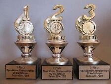 3er-Serie Sportpokale (1, 2, 3) mit Wunschemblem und Wunschgravur (GOBI)