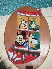 Vintage Needlepoint Disney Christmas Stocking, Mickey, Donald Duck, Goofy