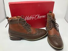 Metro Charm MET525-4 Men's Lace Up Perforated Wing Tip Ankle Boots Size 6
