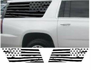 (2) USA Distressed Flag Decal Rear windows fits GMC Yukon XL Side 2015-2020