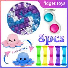 8pc Fidget Toys Anti Stress Set Stretchy Strings Pop Bubble Pop Gift Pack Adults