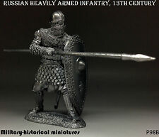 Russian infantry 13 century, Tin toy soldier 54 mm, figurine, metal sculpture