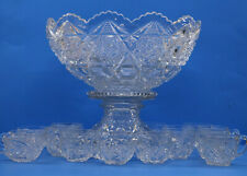 Huge Ornate Glass Crystal Punch Bowl With Stand & 16 Serving Cups