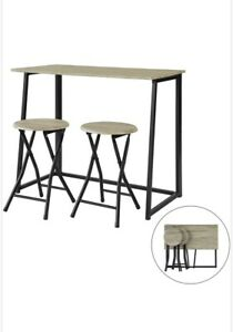 Small Folding Grey Wooden Dining Table 2 Stools Set Breakfast Bar Black Metal