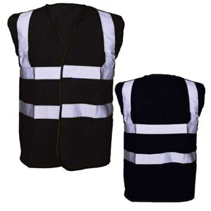 Yoko Black Adult Hi Visibility Hi Viz Reflective Vest 8 Sizes