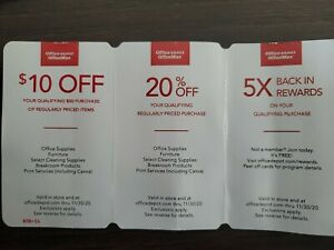 (3)Office Depot/Max Coupon Set - Exp.11/30/20**Valid in Store & officedepot.com