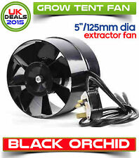 5 inch / 125mm In Line Hydroponic Grow Room Air Inlet Tent Spigot Fan Black