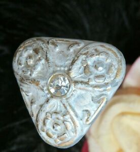 ANTIQUE vintage VICTORIAN milk glass HAT PIN embossed FLORAL rhinestone 12.5""