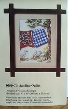 """The Creative Circle Counted Cross Stitch Kit 1689 Clothesline Quilts 8x10"""" Ducks"""