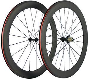 60mm Clincher Bicycle Wheelset 700C 23mm Road Bike Wheels 3k Matte Shimano/Campy